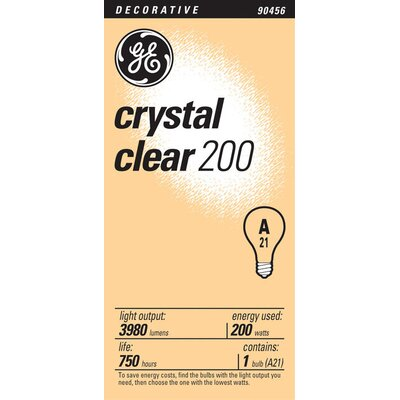 E26/Medium Incandescent Light Bulb Finish: Crystal Clear, Wattage: 200W