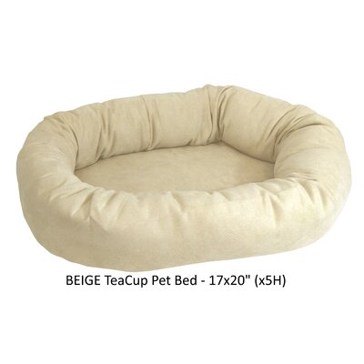 Faux Suede Bolster Dog Bed Color: Beige