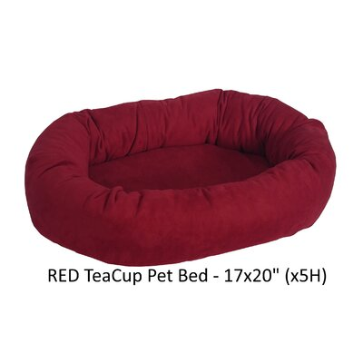 Faux Suede Bolster Dog Bed Color: Red
