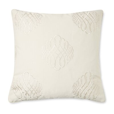 Lille Tourbillon Embroidered Cotton Throw Pillow Color: Cream