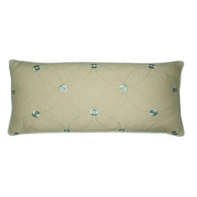 Lille Trellis Embroidered Cotton Lumbar Pillow Color: Mineral/Tan