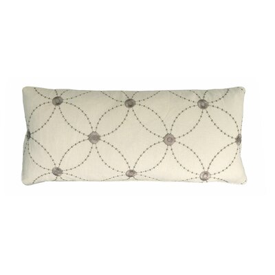 Lille Trellis Embroidered Cotton Lumbar Pillow Color: Taupe/Cream