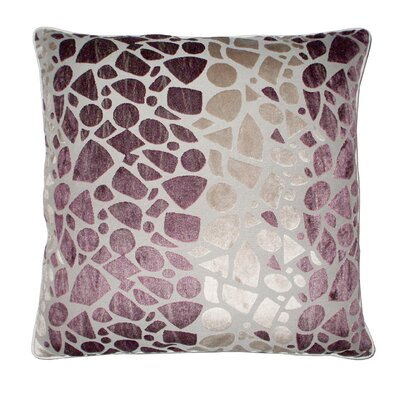 Lille Velvet Embossed Pebbles Throw Pillow Color: Plum/Tan