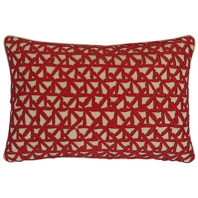 Lake Palace Silk Lumbar Pillow Color: Ruby/Sand