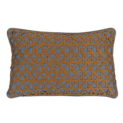 Lake Palace Silk Lumbar Pillow Color: Gold/Slate