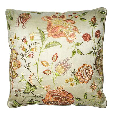 Vie En Rose Embroidered Throw Pillow