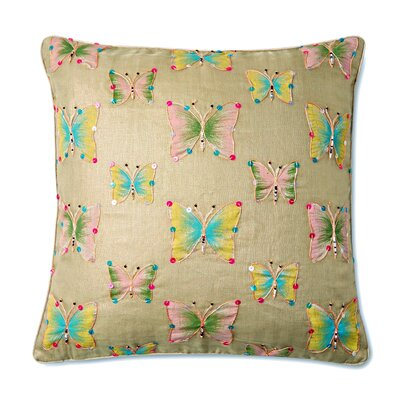 Papillion Beaded Butterfly Throw Pillow