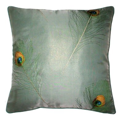 Oceana Embroidered Peacock Feather Throw Pillow