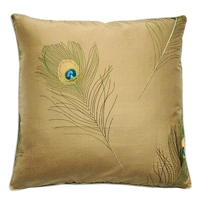 Oceana Embroidered Silk Peacock Feather Throw Pillow