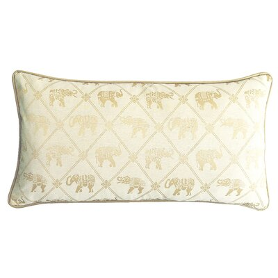 Java Elephant Lumbar Pillow Color: Cream