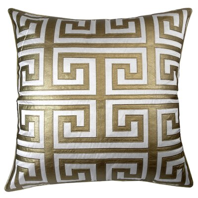 Poleis Grecque Mykonos Throw Pillow Color: White/Gold