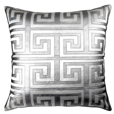 Poleis Grecque Mykonos Throw Pillow Color: White/Silver