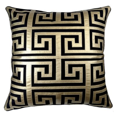 Poleis Grecque Mykonos Throw Pillow Color: Black/Gold