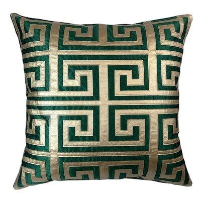 Poleis Grecque Mykonos Throw Pillow Color: Emerald/Gold