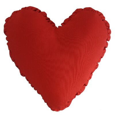 Shirred Heart Cotton Throw Pillow Color: Red