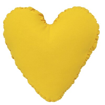 Shirred Heart Cotton Throw Pillow Color: Yellow