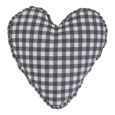 Gingham Check Heart Cotton Throw Pillow Color: Blue