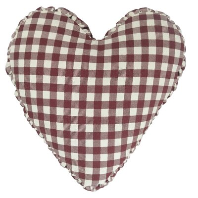 Gingham Check Heart Cotton Throw Pillow Color: Burgundy