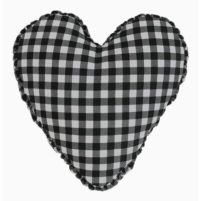 Gingham Check Heart Cotton Throw Pillow Color: Black