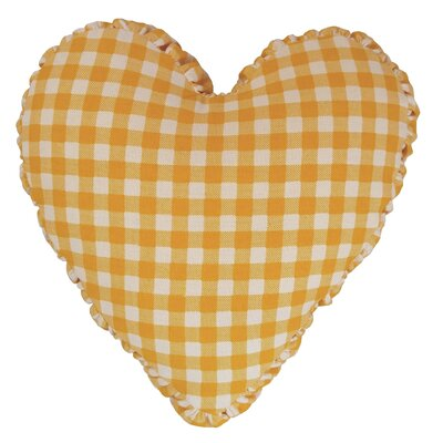 Gingham Check Heart Cotton Throw Pillow Color: Yellow