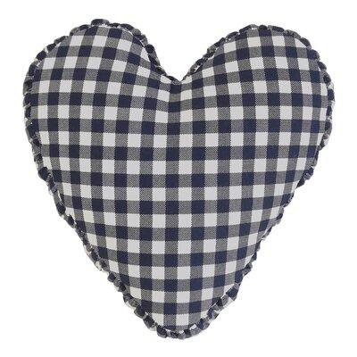 Gingham Check Heart Cotton Throw Pillow Color: Navy