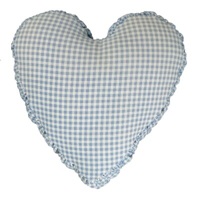 Gingham Mini Check Heart Cotton Throw Pillow Color: Blue