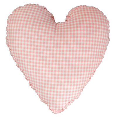 Gingham Mini Check Heart Cotton Throw Pillow Color: Pink