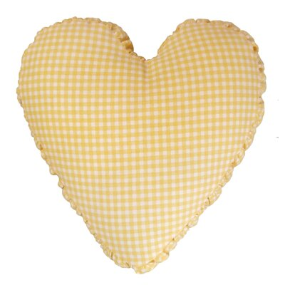Gingham Mini Check Heart Cotton Throw Pillow Color: Yellow