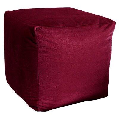 Majestic Plush Cube Pouf Ottoman Upholstery: Burgundy