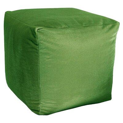 Majestic Plush Cube Pouf Ottoman Upholstery: Green