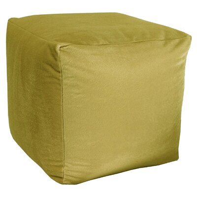 Majestic Plush Cube Pouf Ottoman Upholstery: Acid Green