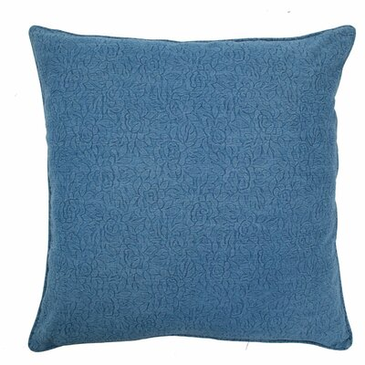 Large Embossed Floral Pillow Size: Large, Color: Denim
