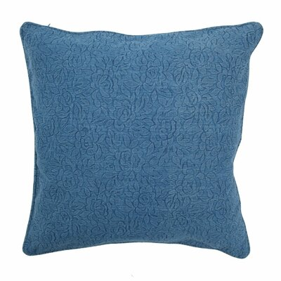 Large Embossed Floral Pillow Color: Denim, Size: Small