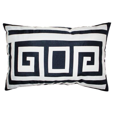 Greek Key Outdoor Lumbar Pillow Color: Navy