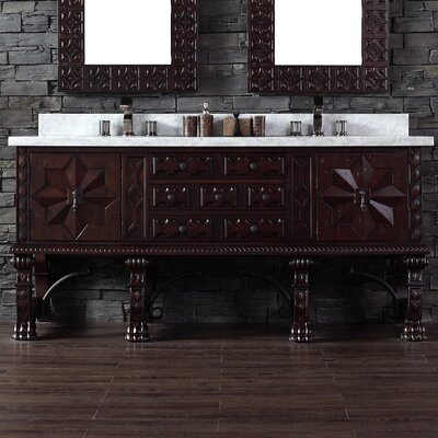 Avebury 72 Double Antique Walnut Bathroom Vanity Set Top Finish: Galala Beige Marble Top