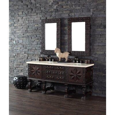 Avebury 72 Double Antique Walnut Bathroom Vanity Set Top Finish: Carrera White Marble Top