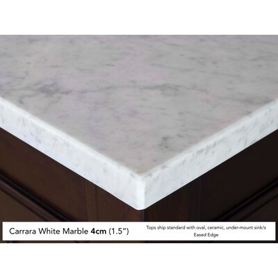 Coraima Traditional 36 Single Antique Oak Bathroom Vanity Set Top Finish: Carrera White Marble Top