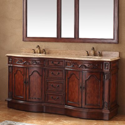 Blue Hills 72 Double Cherry Travertine Top Bathroom Vanity Set