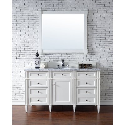 Deleon 60 Single Cottage White Wood Base Bathroom Vanity Set Top Thickness: 2cm