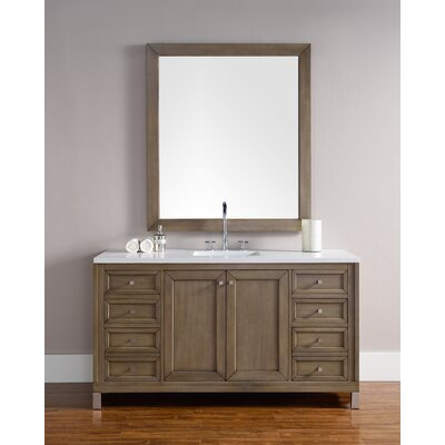 Valladares 60 Single White Washed Walnut Bathroom Vanity Set