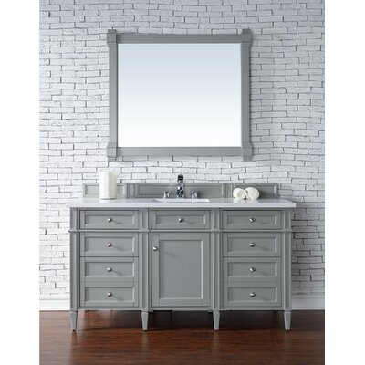 Deleon Traditional 60 Single Urban Gray Stone Top Bathroom Vanity Set