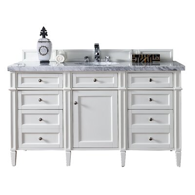 Brittany 60 Single Cottage White Bathroom Vanity Set Top Thickness: 4cm