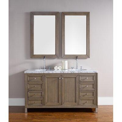 Valladares 60 Double White Washed Walnut Bathroom Vanity Set