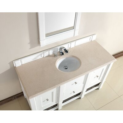 Westminster 60 Single Cottage White Wood Base Bathroom Vanity Set