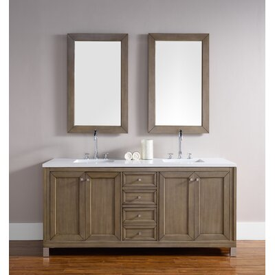 Valladares 72 Double White Washed Walnut Wood Base Bathroom Vanity Set