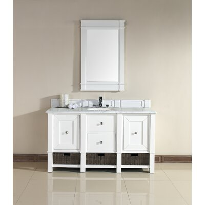 Westminster 60 Single Cottage White Free-standing Bathroom Vanity Set Top Finish: Carrara White Marble, Top Thickness: 4cm