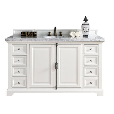 Belhaven 60 Single Ceramic Sink Cottage White Bathroom Vanity Set Top Thickness: 2cm
