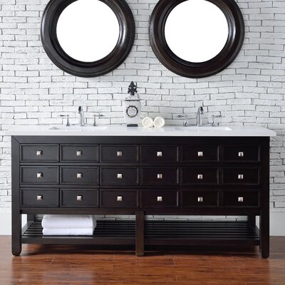 Kramer 72 Double Cerused Espresso Oak Wood Base Bathroom Vanity Set