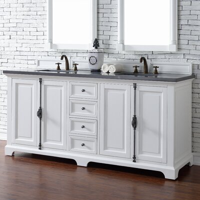 Belhaven Traditional 72 Double Cottage White Wood Base Bathroom Vanity Set