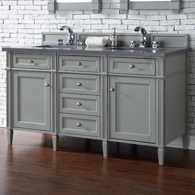 Deleon 60 Double Urban Gray Quartz Top Bathroom Vanity Set